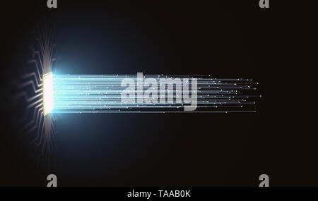 Artificial intelligence. Microchip connections, electric pulses and binary codes. - Stock Photo