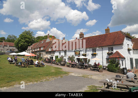 The picturesque Tiger Inn at East Dean, East Sussex; popular with walkers and hikers on the South Downs, UK, GB - Stock Photo