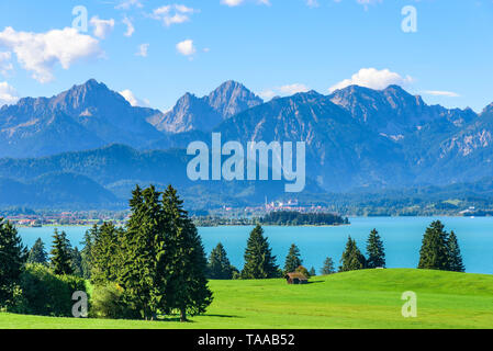 Warm summer morning in september at the Forggensee near Füssen in bavarian region called Königswinkel - Stock Photo