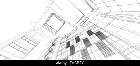 Architecture building space design concept 3d perspective wire frame rendering isolated white background. For abstract background or wallpaper desktop - Stock Photo