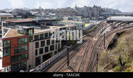 Elevevated view looking down on the railway tracks running into Waverley Station from the east. - Stock Photo