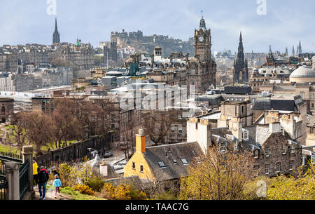 Elevated view of part of Edinburgh, Scotland, as seen from Calton Hill. Visible Features include: the Balmoral Hotel, the Scott Monument, Edinburgh Ca - Stock Photo