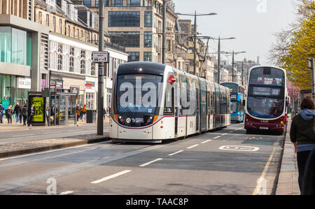 Public Transport on Princes Street, Edinburgh, Scotland, showing a bus in a bus lane, a tram on the tramlines. Several more buses are behind the tram  - Stock Photo