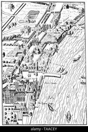 Plan of part of the City of Westminster, taken from Agas' Map of London, Civitas Londinium, 1578. Possibly by Ralph Agas (c1540-1621). This view of the Thames also features Westminster Abbey and the original Palace of Westminster. - Stock Photo