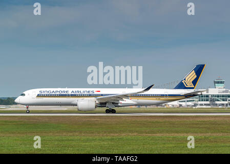 Munich, Germany - 11. September 2018 : Singapore Airlines Airbus A350-941 with the registration 9V-SMB, is starting on the southern runway at the Muni - Stock Photo