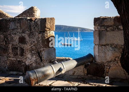 View to the Bay with boats in Aegean Sea from the Wall of Bodrum Castle, Turkey - Stock Photo