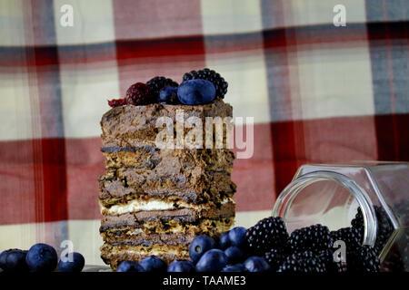 Chocolate cake with berries - Stock Photo