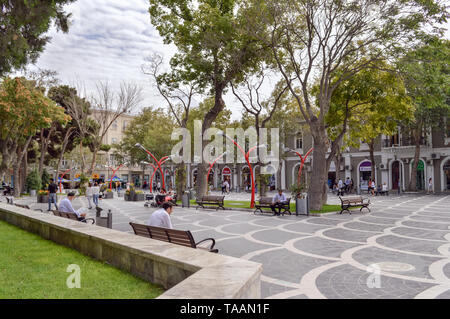 Baku, Azerbaijan, September 06, 2013: people relaxing at  fountain square - Stock Photo