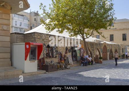 Baku, Azerbaijan, September 03, 2013: small market with traditional goods of azerbaijan near maiden tower - Stock Photo