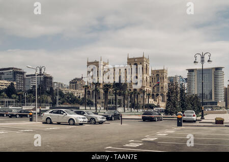 Parking lot in Baku with House of Government and cityscape on background - Stock Photo