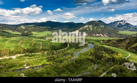 Dunajec river in Pieniny National Park in Poland, aerial drone view. - Stock Photo