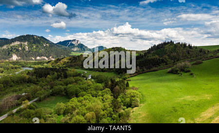 Summertime landscape at Dunajec valley in Poland, aerial view. - Stock Photo