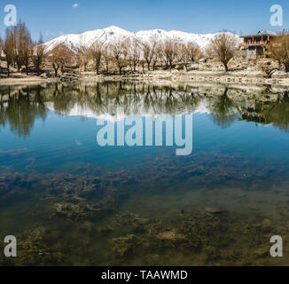 A humble lakeside abode, some snowy Himalayan mountains and a few wintery trees reflecting in the small but tranquil Nako Lake, India. - Stock Photo