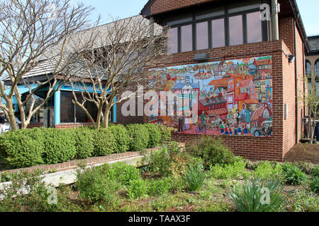 Public art  on the Harbormaster building next to the visitor information booth in downtown Annapolis, MD, USA - Stock Photo