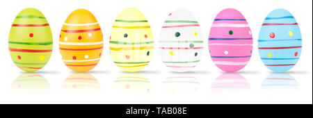 easter eggs  on white background - Stock Photo