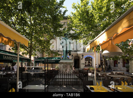 Arles, France - June 24, 2017: Statue of Frederic Mistral on Forum Square, Arles, Bouches-du-Rhone, France - Stock Photo