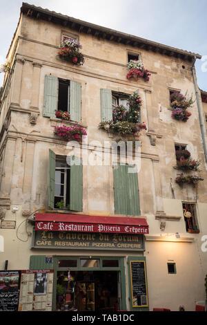 Arles, France - June 24, 2017: Cafe in Place du Forum, Arles, Provence, France - Stock Photo