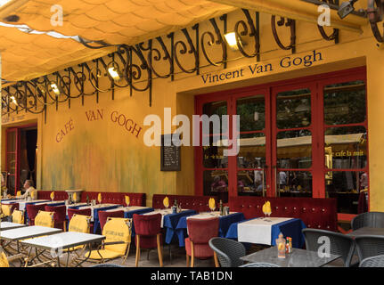 Arles, France - June 24, 2017: Cafe Van Gogh at Place du Forum in Arles. Provence, France. This is the same Cafe Terrace that Vincent van Gogh painted - Stock Photo
