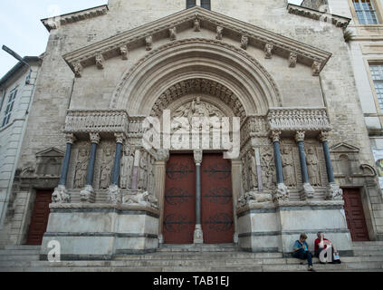 Arles, France - June 24, 2017:  West facade of the Saint Trophime Cathedral in Arles, France. Bouches-du-Rhone,  France - Stock Photo