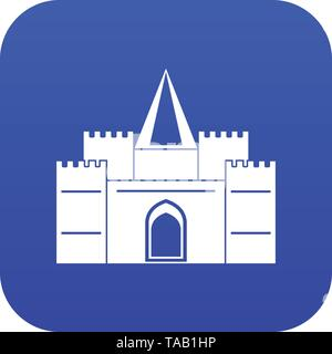 Residential mansion with towers icon digital blue - Stock Photo