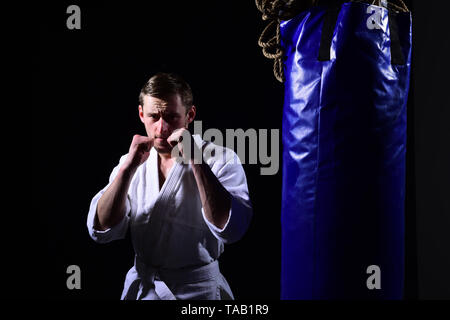 Fight concept. Sportsman ready for fight. Karate man in fight club. Never lose your fight - Stock Photo
