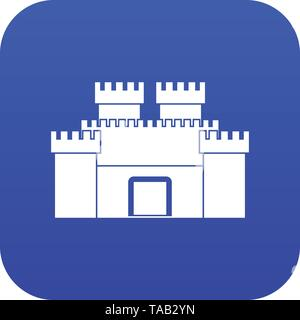 Ancient fortress icon digital blue - Stock Photo