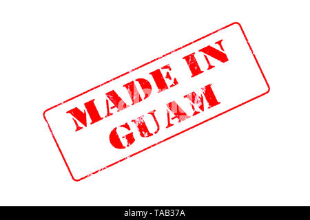 Rubber stamp with red ink on white background concept reading Made In Guam - Stock Photo