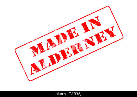 Rubber stamp with red ink on white background concept reading Made In Alderney - Stock Photo
