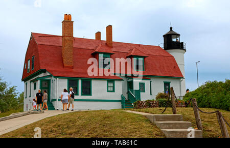 Point Betsie Lighthouse; 1858; aid to navigation; beacon, National Register of Historic Places; Lake Michigan; Frankfort; MI; summer; horizontal - Stock Photo