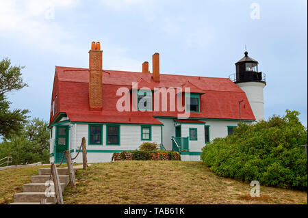 Point Betsie Lighthouse; 1858; aid to navigation; National Register of Historic Places; Michigan; Frankfort; MI; summer; horizontal - Stock Photo
