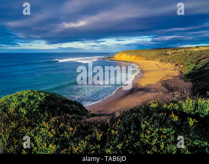 Bells Beach, Torquay, Surf Coast, Great Ocean Road, Victoria, Australia, site of the annual Rip Curl Pro surfing contest, held each Easter - Stock Photo