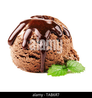 chocolate ice cream with chocolate sauce on a white background - Stock Photo
