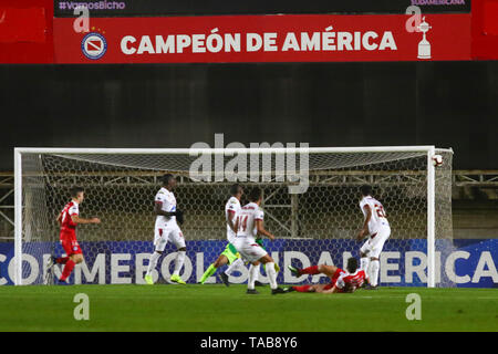 BUENOS AIRES, 23.05.2019: Gabriel Hauche shoots  during the match between Argentinos Juniors and Deportes Tolima for the 2nd round of Conmebol Sudamer - Stock Photo