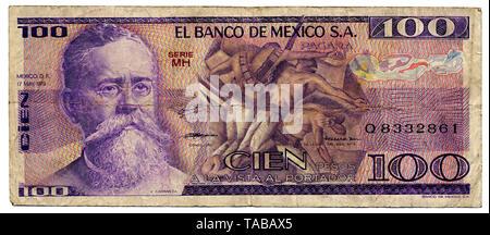 Historische Banknote, 100 Peso, Venustiano Carranza de la Garza, 1979,  Mexiko - Stock Photo