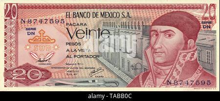 Banknote aus Mexiko, 20 Peso, José María Morelos y Pavón, 1977, Banknote from Mexico, 20 peso, José María Morelos y Pavón - Stock Photo