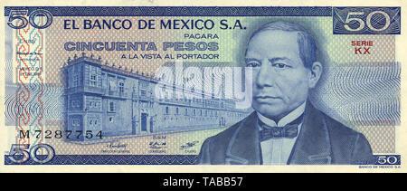 Banknote aus Mexiko, 50 Peso, Benito Pablo Juárez, 1981, Banknote from Mexico, 50 peso, Benito Pablo Juárez, 1981 - Stock Photo