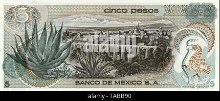 Banknote, 5 Peso, Mexiko, Santiago de Querétaro, 1969 - Stock Photo