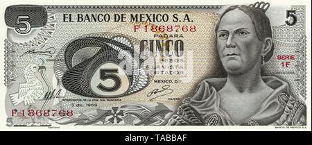 Banknote, 5 Peso, Mexiko, die Nationalheldin Josefa Ortiz de Domínguez oder La Corregidora, 1969 - Stock Photo
