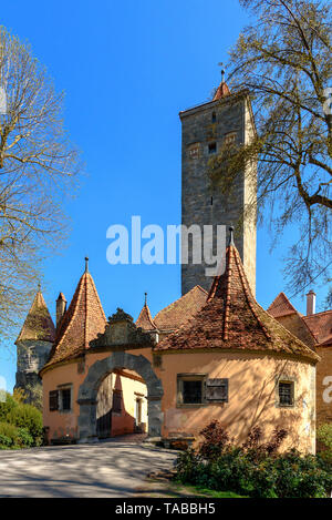 The Burgtor entrance to Rothenburg ob der Tauber on a spring day - Stock Photo