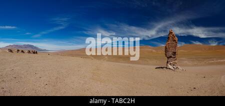 Stone formation of Pacana Monks near Salar De Tara, huge panorama - Stock Photo