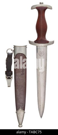An SA service dagger M 33 with leather hanger, Gust. Weyersberg, Solingen Polished blade with etched motto and maker's mark. Nickel silver cross-guards, lower reverse guard stamped 'NS'. Brown wooden grip with inset nickel silver eagle and enamelled SA emblem. Brown burnished steel scabbard with nickel silver fittings. Short brown leather hanger with nickel fittings. Length 36.5 cm. USA-lot, see page 4. historic, historical, 20th century, 1930s, 1940s, storm battalion, stormtroopers, armed and uniformed branch of the NSDAP, organisation, organization, organizations, organis, Editorial-Use-Only - Stock Photo