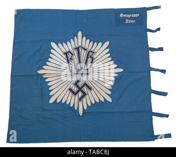 An RLB unit flag, 1st pattern Double-sided, multi-piece, blue cotton construction. Navy blue cotton 'RLB' and swastika superimposed over chain stitched applied woven silver flat wire starburst rays mounted. Blue wool corner panel with white chain stitched 'Ortsgruppe Trier'. Seven cloth attachment straps. Small holes and light staining. Approximately 120 x 120 cm. USA-lot, see page 4. historic, historical, Reichsluftschutzbund, State Air Protection Corps, organisation, organization, organizations, organisations, NS, National Socialism, Nazism, Third Reich, German Reich, Ger, Editorial-Use-Only - Stock Photo
