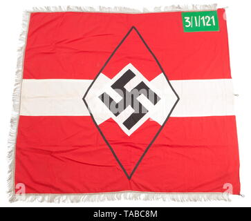 An HJ unit flag Double-sided, multi piece, red cotton construction. Applied white stripe with red, black and white HJ diamond. Green wool corner panel with white chain stitched '3/I/121' indicating Gefolgschaft-Landjahr. Three edges finished with 5 cm silver fringe and three attachment clips on fourth. Approximately 125 x 140 cm. USA-lot, see page 4. historic, historical, 20th century, 1930s, League of German Girls, Band of German Maidens, youth organization, youth organizations, NS, National Socialism, Nazism, Third Reich, German Reich, Germany, National Socialist, Nazi, N, Editorial-Use-Only - Stock Photo