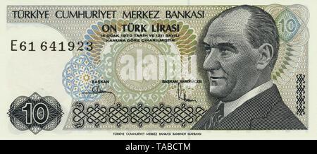 Banknote aus der Türkei 10 Lira, Kemal Atatürk, 1982, Bank note from Turkey - Stock Photo