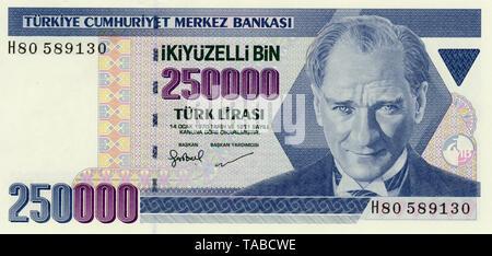 Banknote, 250000 Lire, Mustafa Kemal Atatürk, Türkei, 1970,  Bank note from Turkey - Stock Photo