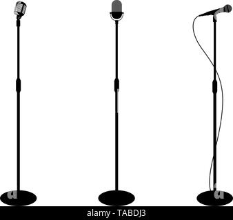 Three microphones on counter. White background. Silhouette microphone. Music icon, mic. Flat design, vector illustration - Stock Photo