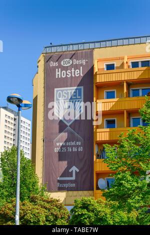 Hostel Ostel, street of the Paris local authority district, Friedrich's grove, Berlin, Germany, Strasse der Pariser Kommune, Friedrichshain, Deutschla - Stock Photo