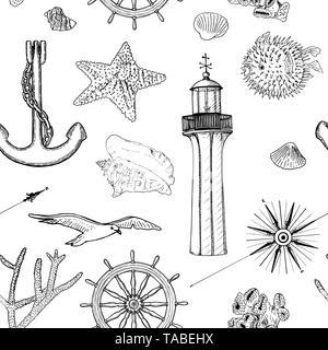 Naval seamless vector pattern set nautical silhouette symbols. Gulls, helm, anchor, light house, coral, shell, wind rose, swellfish, sea star, starfis - Stock Photo