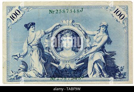 Front of Reichsbank banknote, Vorderseite, Reichsbanknote, 100 Mark, 1908, Deutschland, Europa - Stock Photo