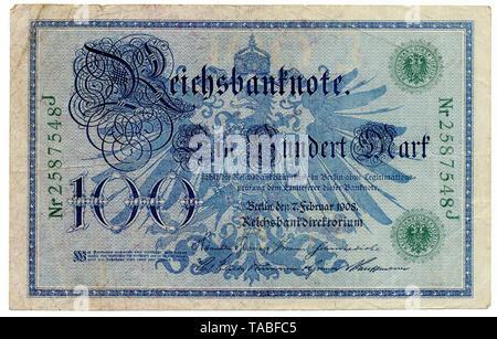 Back of Reichsbank banknote, Rückseite, Reichsbanknote, 100 Mark, 1908, Deutschland, Europa - Stock Photo